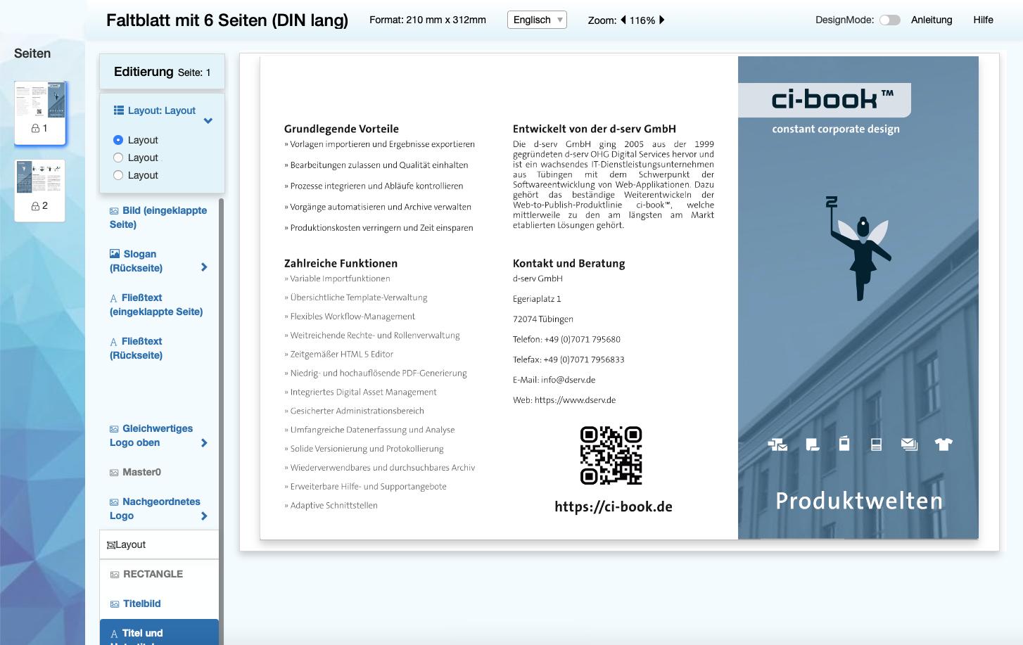 Screenshot vom ci-book™ Universal Editor